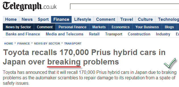 Toyota breaking problems or broken Telegraph co uk proofing