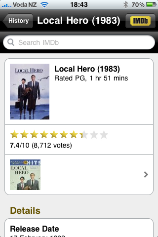IMDB iPhone App is cool!