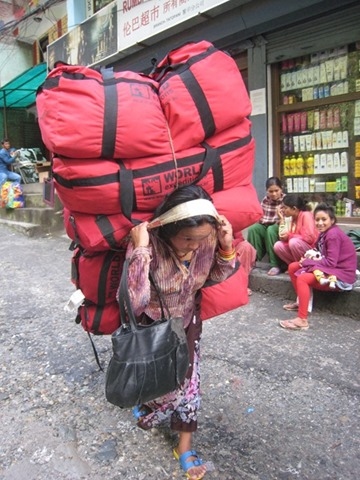 Porter with 6 Kitbags