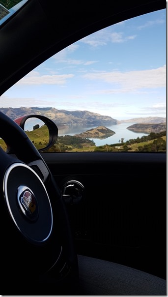Akaroa Harbour from an Abarth