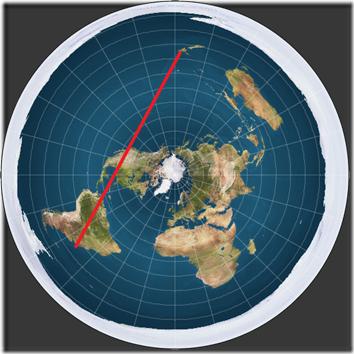 Flat Earth Flight Path Direct