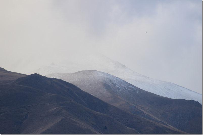Snow on the hills near Kurow