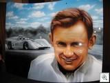 This remarkable portrait of Bruce McLaren is painted on a car bonnet (hood)