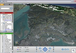The red dot is the model loaded into Google Earth