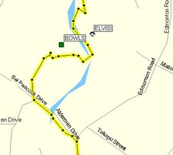 Map of bike route (Yellow is GPS track)