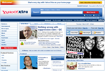 YahooXtra! Homepage